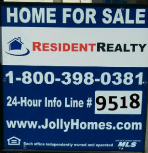 Jolly Homes Real Estate Sign | Jolly Homes Team at Resident Realty